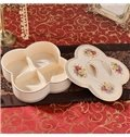 Creative White Ceramic Four Lattice Snack Box Painted Pottery