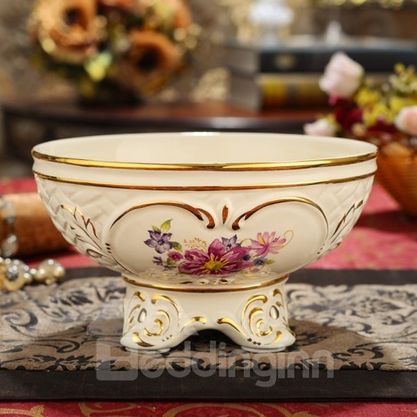 Round Ceramic Flower Pattern Fruit or Vegetable Bowl Painted Pottery