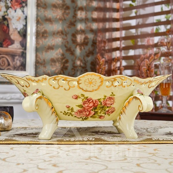 Decorative Ceramic 4 Feet Fruit Compote Painted Pottery