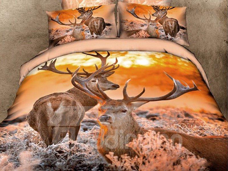 Luxury Reindeer Print 4-Piece Cotton Duvet Cover Sets