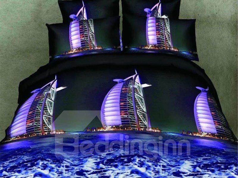 Beautiful Burj Al Arab Print 4-Piece Polyester 3D Duvet Cover