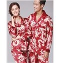 Bright Red With Dragon Pattern Craft Comfortable And Fashional Pajamas