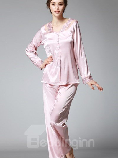 Special Neck Flower Lace Ring Design Two-Piece Pajamas
