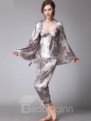 Three Piece Floral Beautiful Style Charming Pajamas