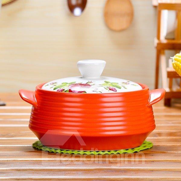 Unique Design Ceramic Heat-resisting with Flower Pattern Lid 2.2L Stockpot