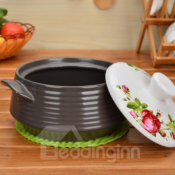 Unique Design Ceramic Heat-resisting with Flower Pattern Lid 2.2L Stockpot