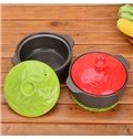 Healthy Ceramic Red and Green Leaves Pattern 4L With Lid Stockpot