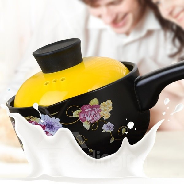 Black Ceramic Heat-insulated Hand Holder Flower Pattern Milk and Porridge Stockpot