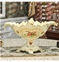 European Style Ceramic Flower Pattern Fruit Compote Painted Pottery