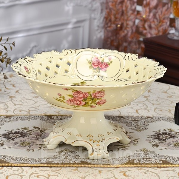 Unique Ceramic Flower Pattern Hollow Fruit Compote Painted Pottery