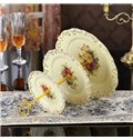 Modern Design Ceramic Three Layers Cake Fruit or Cake Plate Painted Pottery