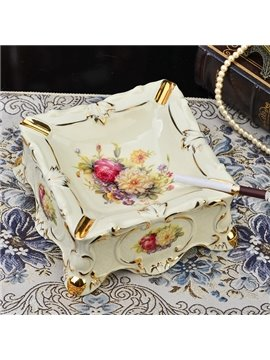 Amazing Ceramic Square Shape Flower Pattern Ashtray Painted Pottery
