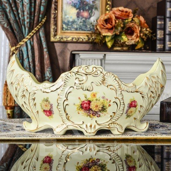 Delicate Ceramic Flower Pattern Ship Shape Fruit Bowl Painted Pottery
