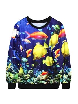 Fabulous Long Sleeve Kinds of Fishes Pattern 3D Painted Hoodie