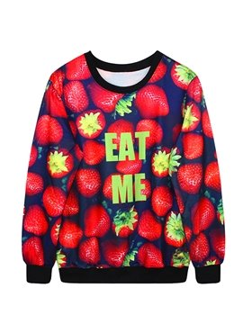 Vivid Long Sleeve Strawberry Pattern 3D Painted Hoodie