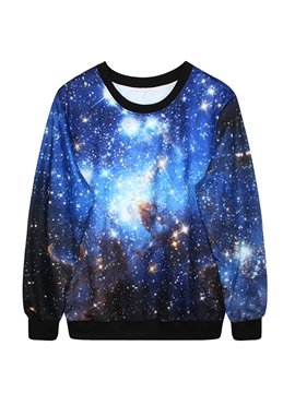 Creative Long Sleeve Blue Galaxy Pattern 3D Painted Hoodie