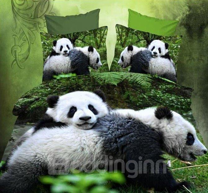 Cute Panda 3D Print Polyester 4-Piece Duvet Cover Sets