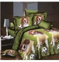 Lovely Puppy and Soccer Print Polyester 4-Piece Duvet Cover Sets