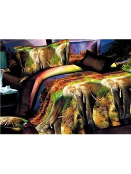 Splendid 3D Elephant Printed Polyester 4-Piece Duvet Cover Sets