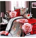 Classic 3D Rose Print Polyester 4-Piece Duvet Cover Sets