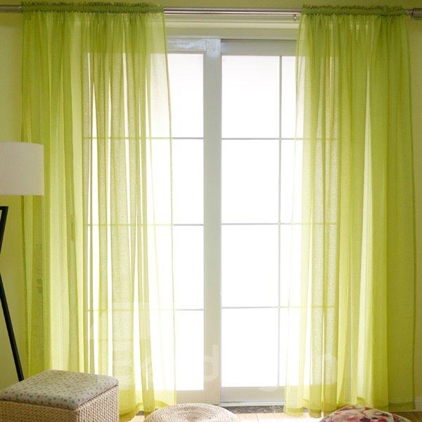 Concise Solid Lemon Yellow Custom Sheer Curtain