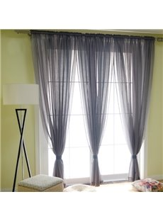 Concise Solid Grey One Panels Custom Sheer Curtain