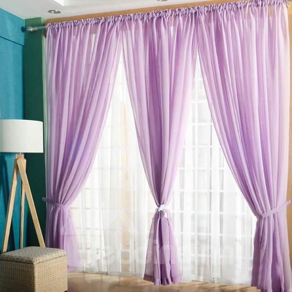 Concise Solid Purple One Panels Custom Sheer Curtain