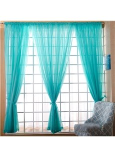 Concise Solid Canal Blue One Panels Custom Sheer Curtain