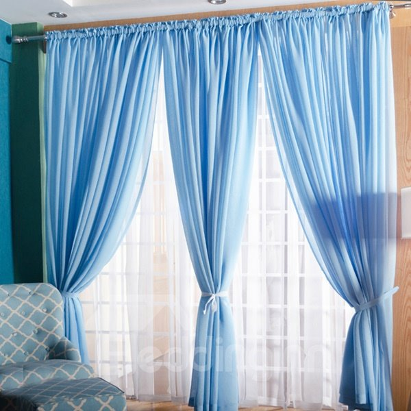 Concise Solid Lemon Sky Blue One Panels Custom Sheer Curtain