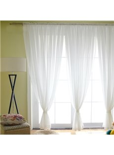 Elegant Concise Solid White One Panels Custom Sheer Curtain