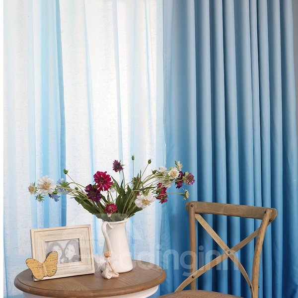 Gorgeous Sea Blue Gradient Color Custom Sheer Curtain