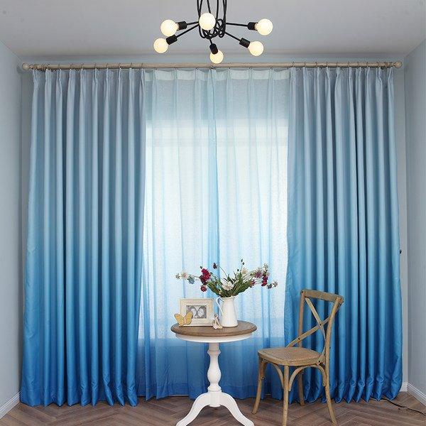 Gorgeous Sea Blue Gradient Color Custom Shading Curtain
