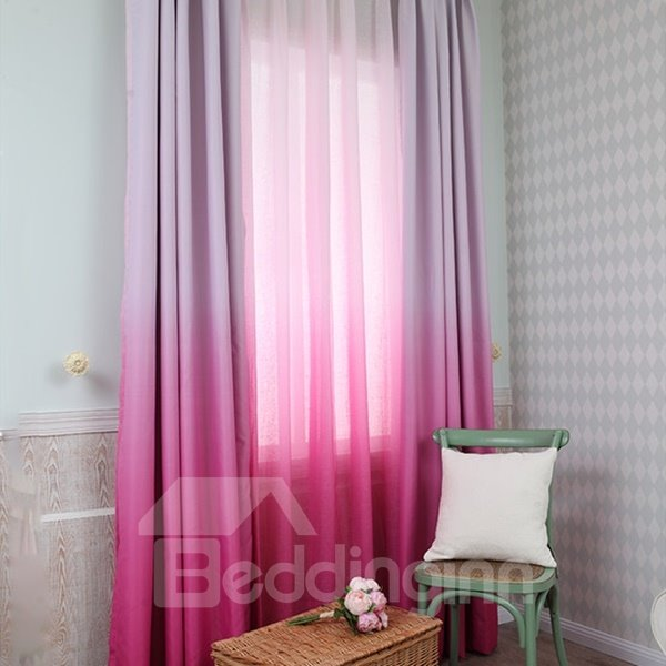 Room Darkening Gradient Color Rose Red Custom Curtain