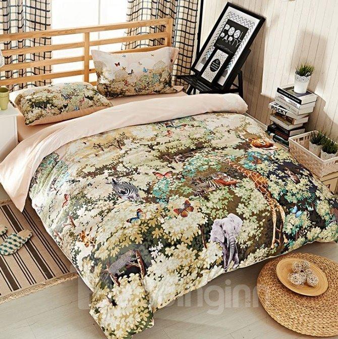 Charming Jungle Print 4-Piece Cotton Duvet Cover Sets