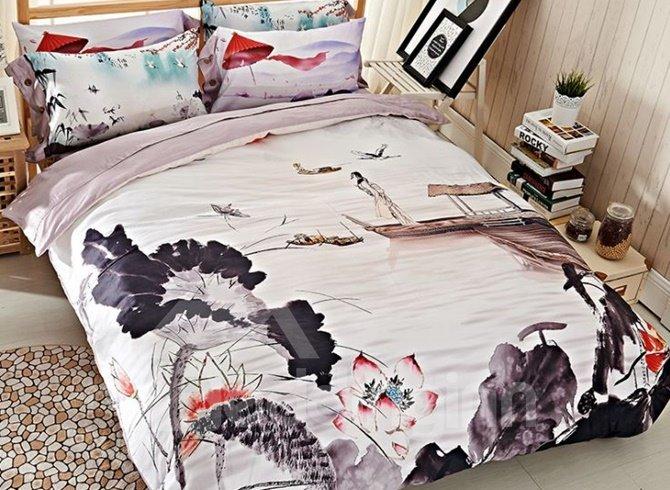 Ink Lotus Print 4-Piece Cotton Duvet Cover Sets