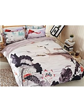Ink Lotus Print 4-Piece Cotton Duvet Cover Sets