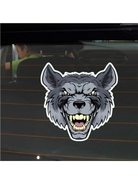 Ferocious Wolf Exposing Sharp Teeth Decorative Car Sticker