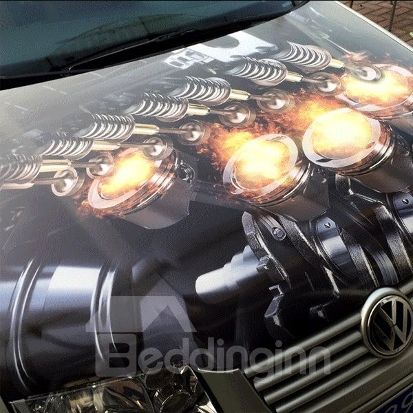 Realistic 3D Engine Pattern Popular Charming Car Sticker