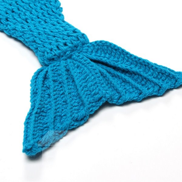 Knitted Crochet Mermaid Shaped Blue Baby Clothes Photo Prop
