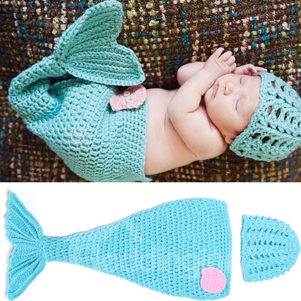 Knitted Crochet Mermaid Shaped Sky Blue Baby Clothes Photo Prop
