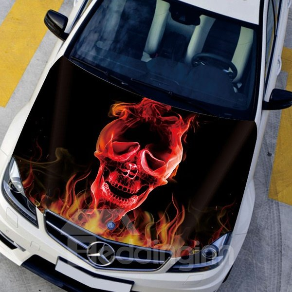 Fire Burning Skull Head Angry Design Front Decorative Car Sticker