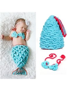 Knitted Crochet Mermaid Shaped Baby Cloth Photo Prop