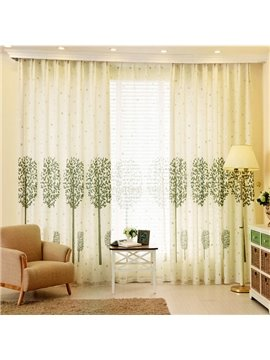 Country Style Green Tree Printing Custom Grommet Top Curtain
