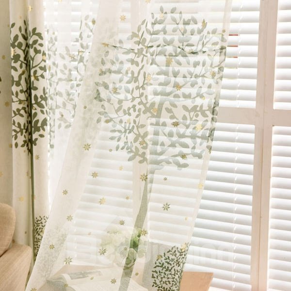 Country Style Green Tree Printing Custom Sheer Curtain