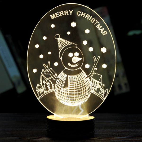 Festival Christmas Decoration Snowman Pattern Table Lamp