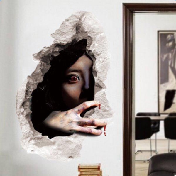 Halloween Decorative Bloodshot Eyes Female Ghost Pattern 3D Wall Stickers