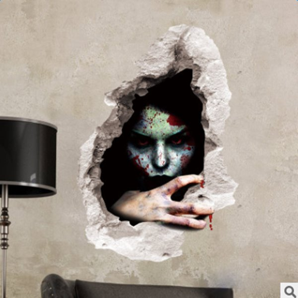 Lifelike Halloween Decorative Bloodshed Female Devils Pattern 3D Wall Stickers