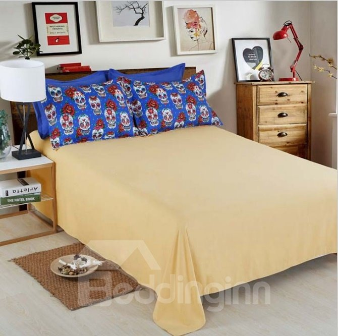 Amazing Skull and Rose Print 4-Piece Polyester 3D Duvet Cover Sets