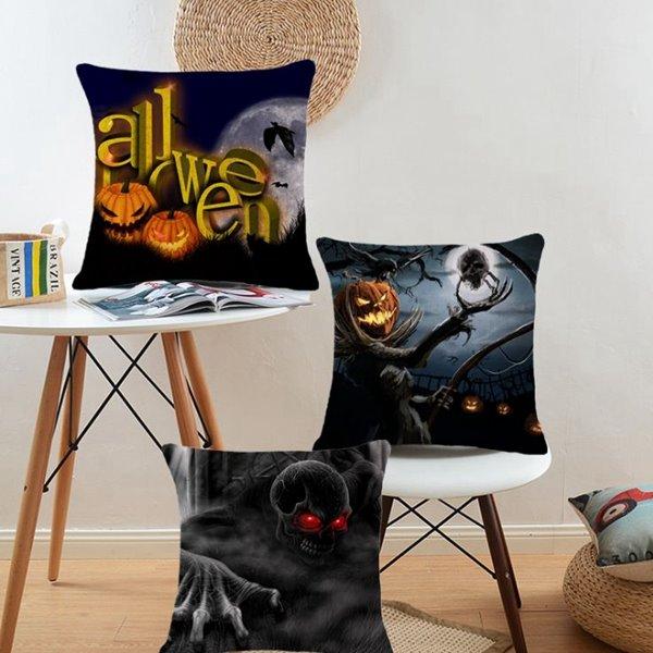 Chic Halloween Design Cotton Throw Pillow Case