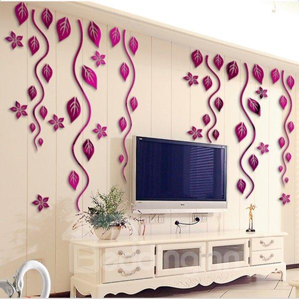 Gorgeous Acrylic Flower Vine Pattern Decorative Wall Stickers